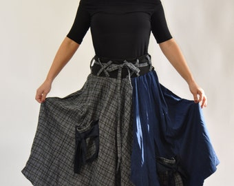 Long Wool casual skirt/Woman wool wrap skirt/Woman blue skirt/Maxi big pockets skirt/Handmade skirt/Winter woman casual skirt/S1307