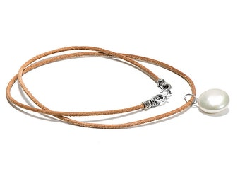White Freshwater Coin Pearl on Leather Neckpiece, 12 to 13mm, Sterling Silver Clasp