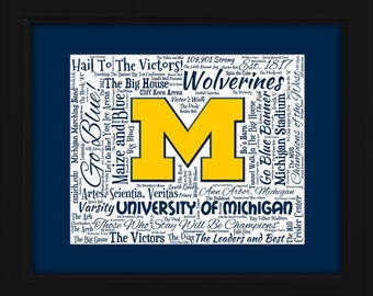 University of Michigan 16x20 Art Piece - Beautifully matted and framed behind glass