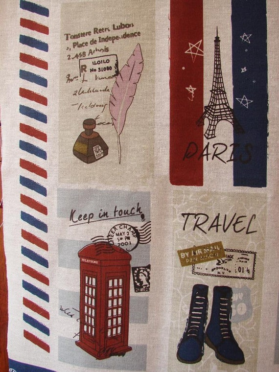 Cotton Linen Fabric French Paris Travel Airplane by