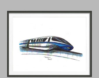 Walt Disney World Resort Blue Monorail Disney Fine Art Print  Disney Transportation Archival Museum Quality Wall Decor Gift Collectible WDW