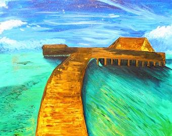 Large Bora Bora oil on canvas painting