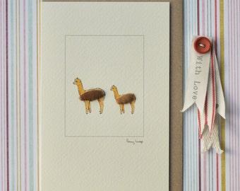 Alpaca Greeting Card, Woolly alpaca card