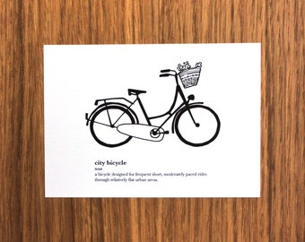 City Bicycle Definition Postcard - Bike, cycling, pretty bike, dictionary