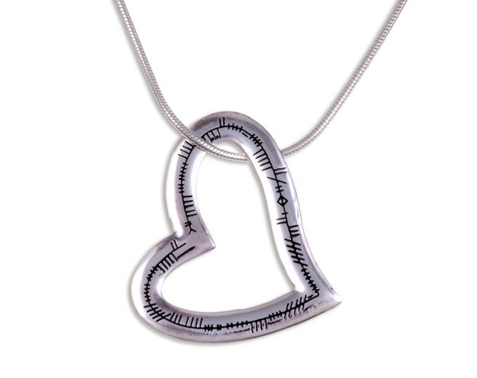 925 Sterling Silver Ogham Heart Love Valentine pendant with 18 inch Chain - Made in UK