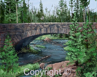 Yellowstone Bridge and River Print