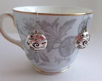Fish Earrings - Puffer Fish Charm - Ocean Jewelry