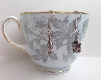 Buddha Earrings - Buddha Head Earrings - Buddha Charms - Buddhist Earrings - Buddhist Jewelry - Eastern Jewelry