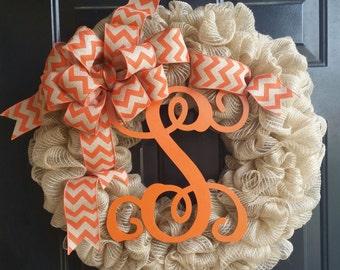 Monogrammed Burlap Wreaths, Initial Wreaths, Burlap Wreaths, Home Decor, Everyday Wreaths, Chevron Ribbon Wreaths, Wreaths