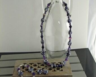 "19"" formal Peruvian Ceramic bead loose choker necklace, bracelet and earring set."