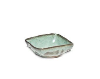 Green Bowl, Square Bowl, Dipping Bowl, Rustic Ceramics, Organic Tableware, Irish Pottery,