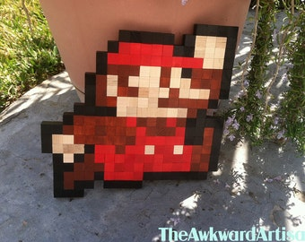 Super Mario (Jump) Wood Block Sprite Wall Art