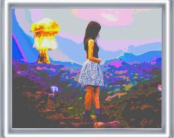 Psychedelic Apocalypse Art Print 8 x 10 – Atomic Bomb Girl - Apocalypse Pop Art – Surrealism – Surreal - Atom Bomb - Apocalyptic