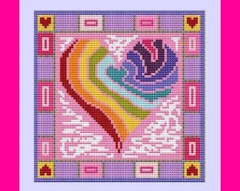 Rainbow Heart Cross Stitch Kit