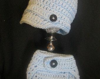 Crochet Newborn Baby Boy Hat and Diaper Cover Set