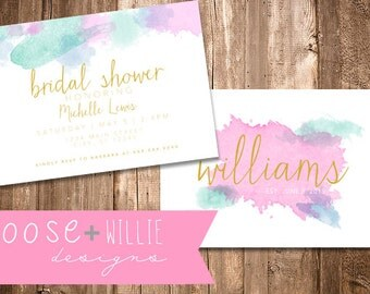 Custom Bridal Shower Invitation - Watercolor - Choose Colors/Personalize