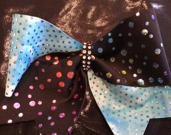 Black and Turquoise Cheer Bow