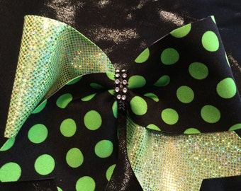 Sparkly Mint Green and Polka Dot Cheer Bow