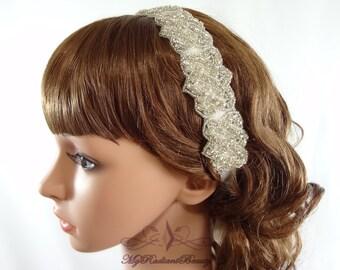 Bridal headpiece, Wedding headband, Rhinestone Headband, Bridal Headband, Bridal Headwrap, Hair Accessories, Bridesmaid Gift RB0005