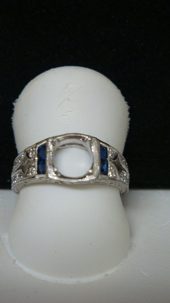 Antique inspired Art deco style18k White Gold Blue Sapphire