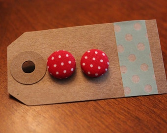 SALE || Red Dots Fabric Button Earrings - Small