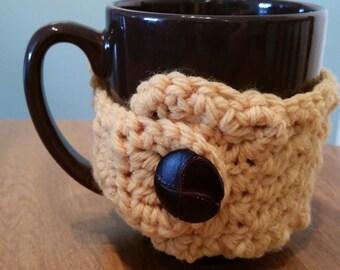 Handmade crochet yellow mug cozy