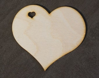 """Wood heart tag > 4"""" Wooden hearts > Heart with Heart hole >  big wood Heart with hole > 10 cm Wood heart shape > Laser cut heart tag"""