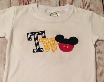 Personalized custom mickey mouse 2nd birthday shirt, two, boy