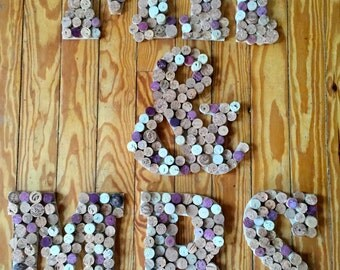 """MR & MRS 12"""" Wooden Letters with Repurposed Corks"""