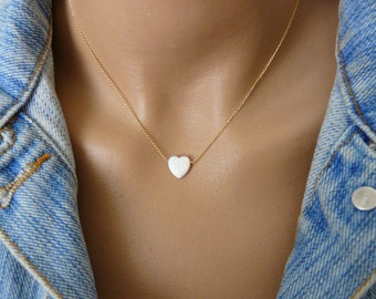 Opal Heart necklace, Opal necklace, White heart opal necklace, Gold Fill necklace, Romantic necklace, Opal jewelry