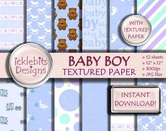 "Baby Boy TEXTURED Digital Paper Pack for Scrapbooking, ""BABY BOY"" blue, baby stork paper,polka dot, baby feet, high resolution,Design #39"