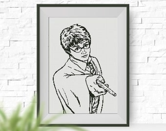 BUY 2, GET 1 FREE! Harry Potter cross stitch pattern, pdf counted cross stitch pattern, Hogwarts, Glasses of Harry Potter, monochrome, #P062