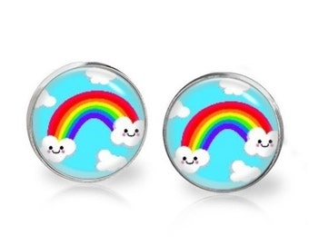 14mm Rainbow Cloud Smiley Glass Dome Stud Earrings Surgical Stainless Steel Post