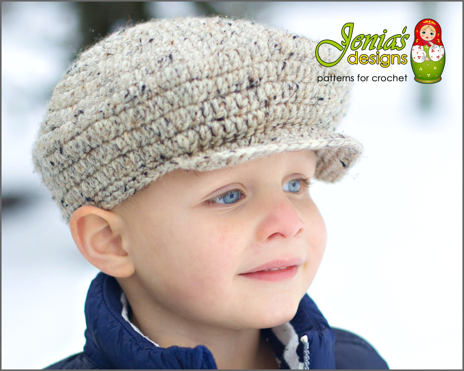 """The Scally Cap style (AKA driver's or flat cap) has been around for centuries. Crochet yourself a timeless Scally Cap, without losing the authentic """"sewn"""" quality and shape. Crochet Baby Hat, Baby Bear Hat, Baby Girl Hat, Girl Bear Hat, Infant Bear Hat, Infant Girl Hat, Newborn Girl Hat, Newborn Bear Hat, Ivory. Ingyenes Horgolás."""