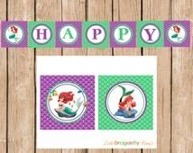 Ariel, The Little Mermaid, Diy, Instant Download, Happy Birthday Banner