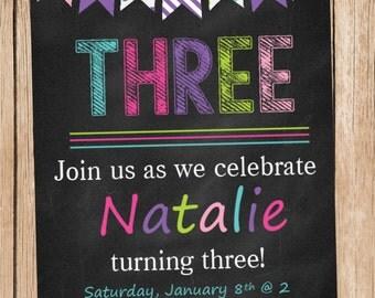 Colorful Chalkboard Birthday Invitation