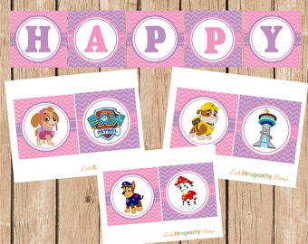 Girl Paw Patrol Happy Birthday Banner, DIY, Instant Download