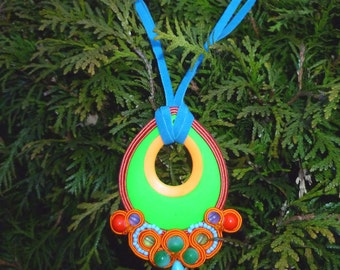 Braid embroidery - Soutache pendant, necklace - A Dop Of Spring - green ,blue, orange