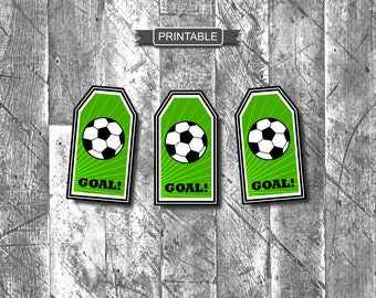 DIY Soccer Gift Tags for Goodie Bags Treat Bags Party Favors Printable Instant Download-Goal