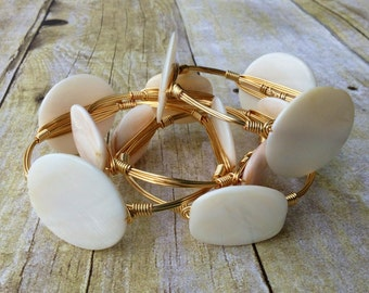 Wire Wrapped Bangle Bracelet w/ White Mother Of Pearl Disc Beads Gold or Silver