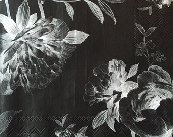 "Decoupage Napkins, Set of 3, Moonlit Garden, 13"" x 13"""