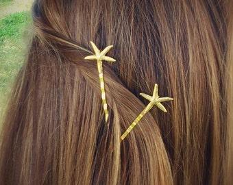 Starfish Hair Pin Gold Starfish Bobby Pins Beach Hair Pins Starfish Hair Clips