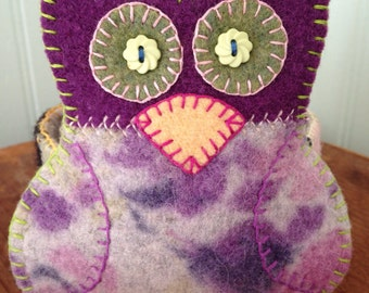Owl Candle Holder Felted Wool Cozy