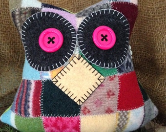 Felted Wool Owl Pillow Toy