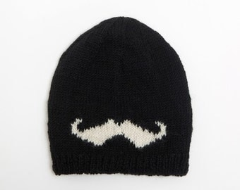 Mustache Slouchy Beanie with soft inner fleece lining