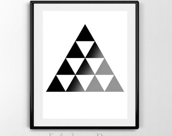 Minimalist Abstract Black Gray Ombre Triangles - DIGITAL DOWNLOAD Print, Wall Art, Printable, White,Triangles, Home Decor, Abstract Print