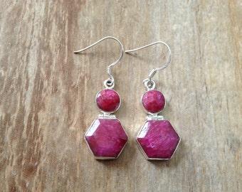 Sterling silver gemstone earrings/ Indian Ruby earrings/ 925 Sterling silver earrings