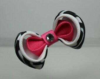Kanzashi Bow Clip Pink Black White Hair Barrette Grosgrain Ribbon Zebra Fascinator Made in USA