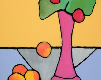 """Original painting, Still life Fruits and Flowers, Acrylic colorful painting, """"Bouquet"""" 20H x 20W in, from Art Factory Gallery"""