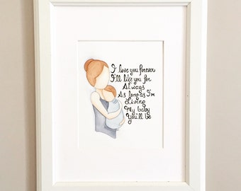Mother son wall art. Love You Forever Decor. Mother's Day Art. Mother Son Decor.